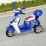 Moto scooter électrique pour enfants 6 V env. 3 Km/h 3 roues et topcase effet lumineux et sonore bleu neuf 34