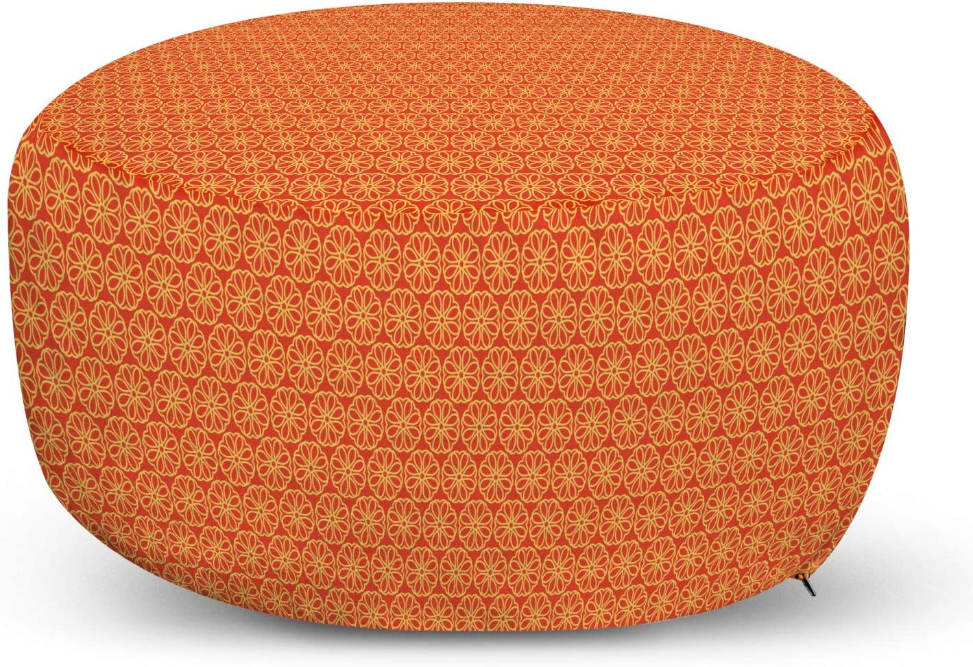 Lunarable Ethnic Ottoman Pouf, Folkloric Vintage Style Pattern of Outline Flowers Japanese Asian Design, Decorative Soft Foot Rest with Removable Cover Living Room and Bedroom, Vermilion Yellow