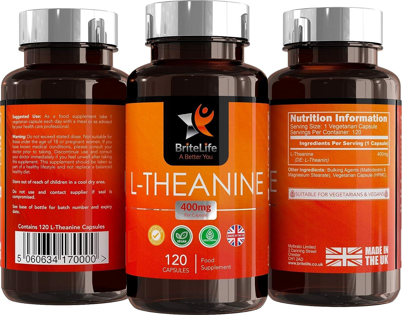 BriteLife L-Teanina 400mg Pastillas para Dormir | ALTA RESISTENCIA | 120 Capsulas Vegetarianas | Mantiene la Relajación y Aumenta el Rendimiento ...