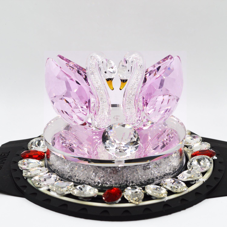 XIANGBAN Crystal Swan Statue Souvenir Collection Round Rhinestone Base Desktop Paperweight Decoration Wedding Favor