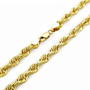 14k Yellow Gold Solid 6mm Diamond Cut Rope Chain Pendant Necklace, 20