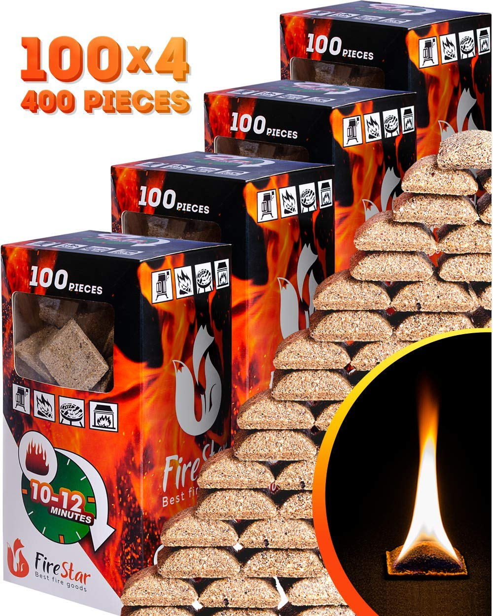 Fire Starter Squares - 100pc fire starters for fireplace - Camping fire lighter - Grill charcoal starter cubes - Firestarters for campfires   fireplace   fire pit burns 10-12 min