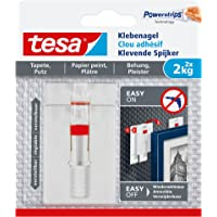 tesa Verstellbarer Klebenagel für Tapeten und Putz/Selbstklebender Nagel von tesa Powerstrips/2 x 2 kg Halteleistung