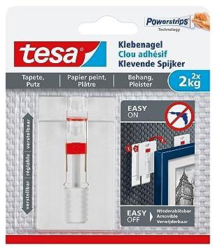 Tesa Verstellbarer Klebenagel Für Tapeten Und Putz / Selbstklebender Nagel  Von Tesa Powerstrips / 2 X