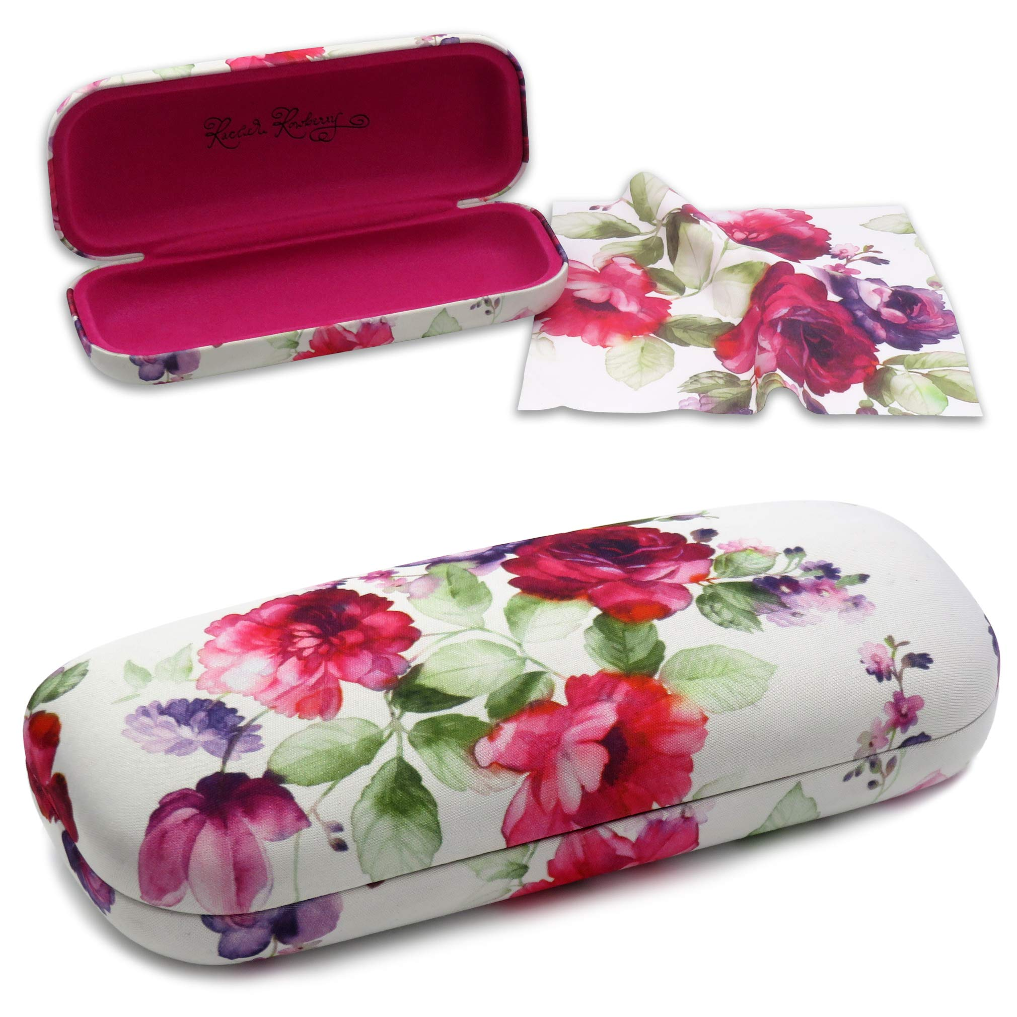 Floral Medium Protective Hard Shell Glasses Case for Eyeglasses and Sunglasses with Microfiber Cleaning Cloth by Rachel Rowberry (Cranberry Rose)