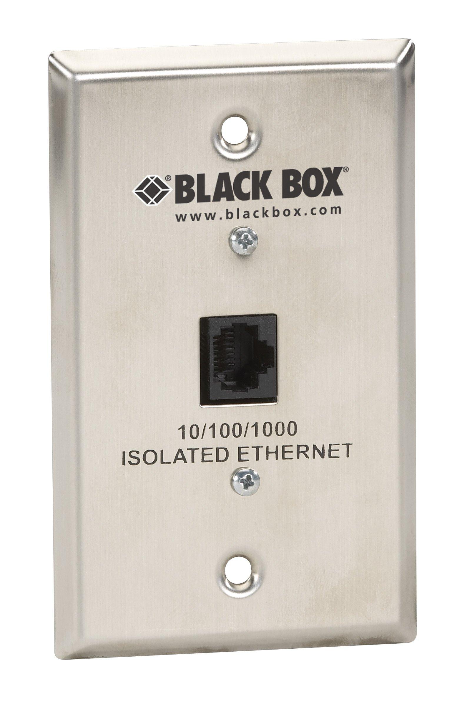 Black Box Wallplate Data Isolator Stainless Steel 10/100/1000-Mbps 4K