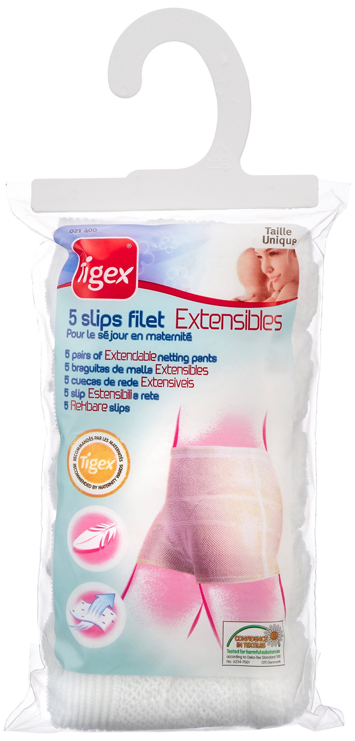 Tigex - Pack de 5 bragas de malla extensible, talla única, color blanco product