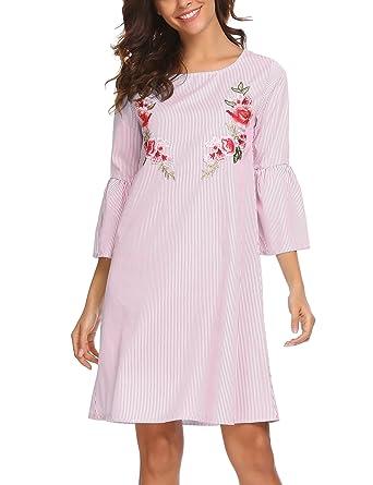 d3e72ed15be9 UNibelle Women Floral Print Long Sleeve V Neck Casual A-line Shift Dresses