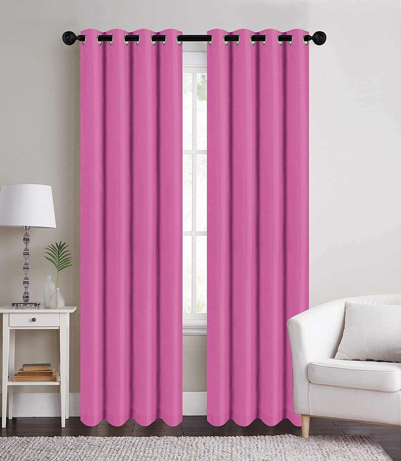 Royal Blue Sapphire Home 2 Grommet Woven Blackout Curtain Panels Solid Color 54 W x 84 L Soft Thermal Insulated Room Insulating Darkening Solid Curtains Drapes for Bedroom//Living Room Patio Door
