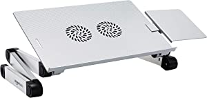 AmazonBasics Portable Adjustable Aluminum Laptop Stand with CPU Fans, Silver