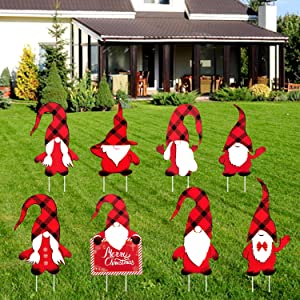 Iceyyyy 8PCS Christmas Gnomes Yard Sign - 11Inch Christmas Gnomes Yard Sign with Stake, Outdoor Lawn Christmas Sign Decor, Winter Xmas Gnome Yard Signs Decor