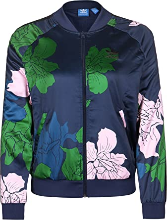 4142a4440 adidas Originals Womens Womens Floral Engraving Supergirl Track Top in Blue  - 18