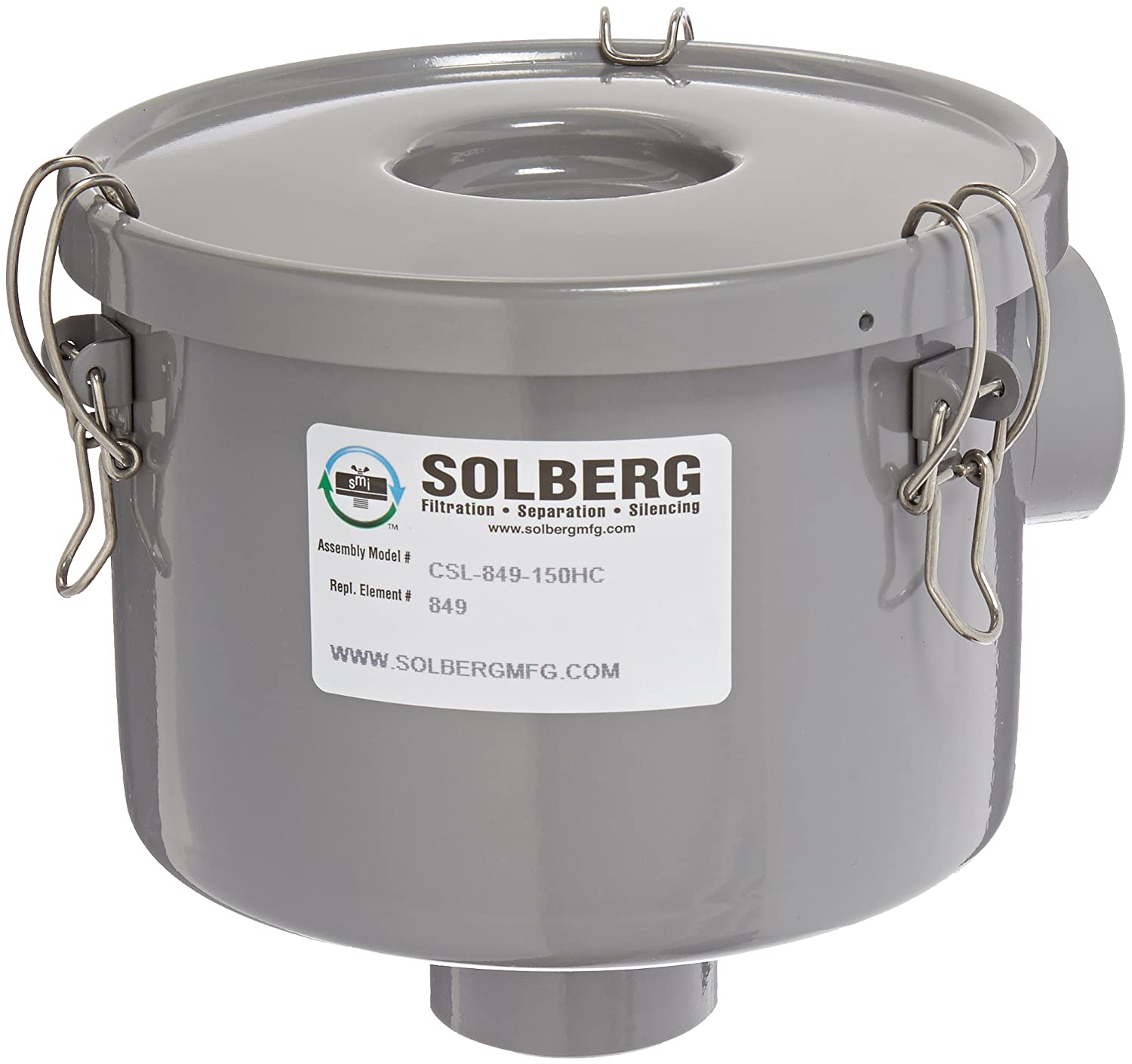 "Solberg CSL-849-150HC Inlet Vacuum Pump Air Filter, 1-1/2"" FPT Inlet/Outlet, 6-3/4"" Height, 7-5/16"" Diameter, 80 SCFM, Made in the USA"