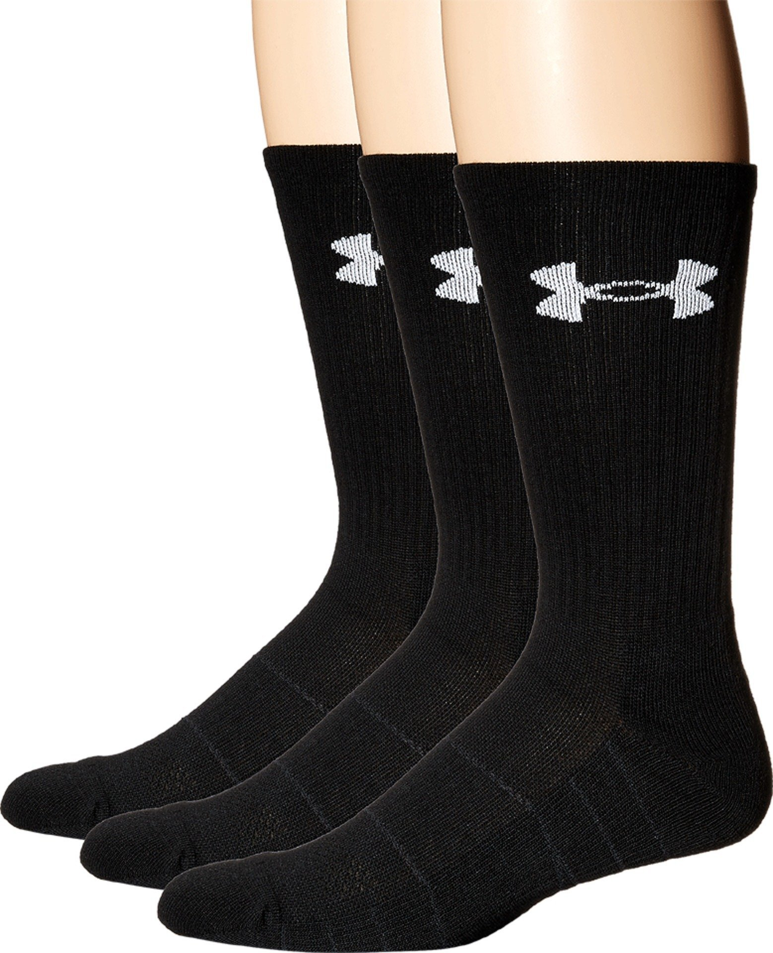 Under Armour Men's Elevated Performance Crew Socks (3 Pack), Black, Large