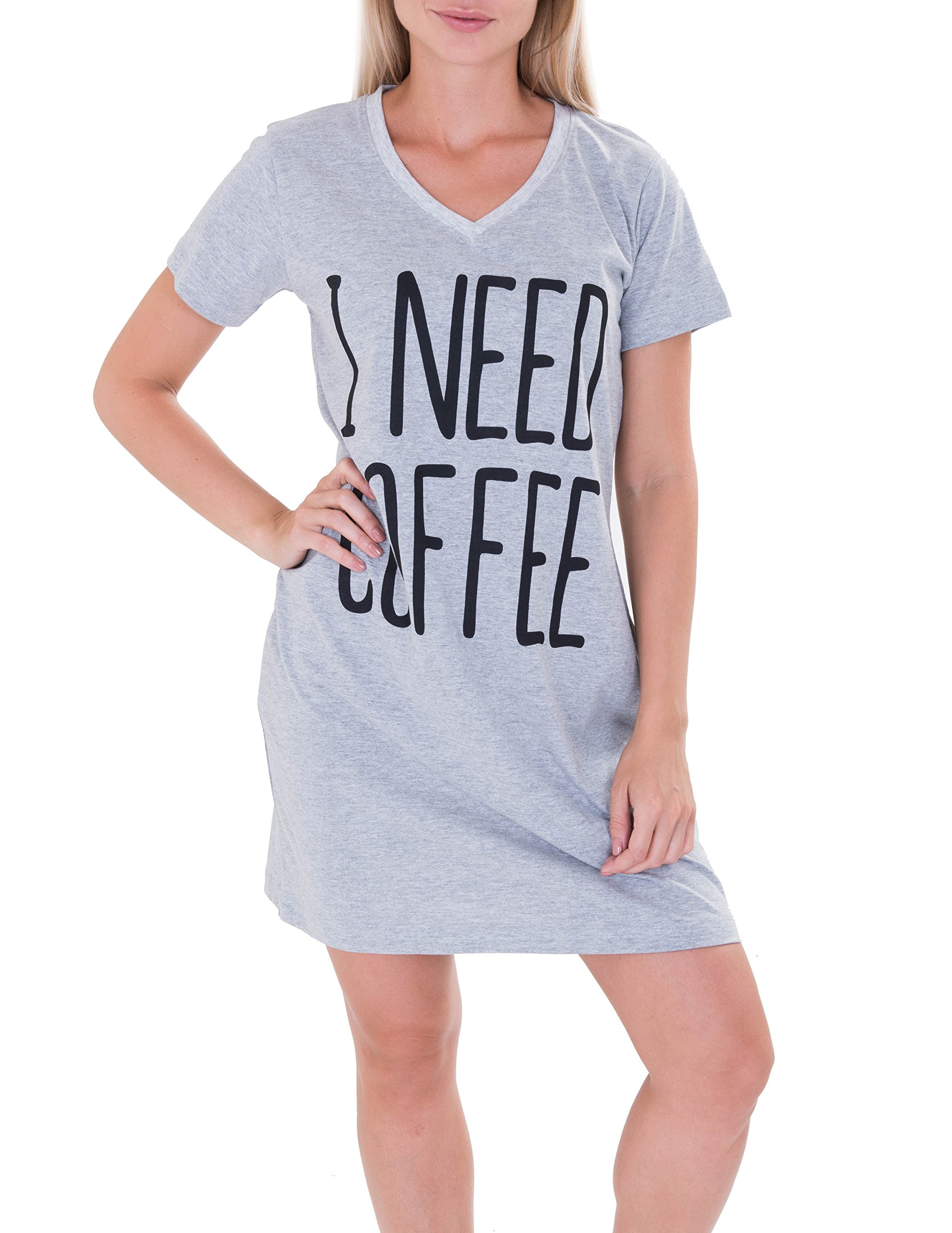 Caramel Cantina Sleep Long Length Nightshirt (2XL/3XL, Grey Coffee)