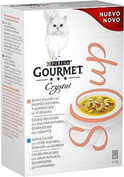 Purina Gourmet Crystal Soup comida para gatos con Salmón Natural y ...