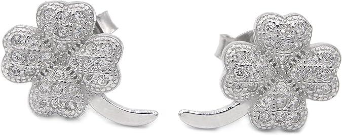 Klapp Creolen mit Anhänger Kleeblatt Edelstahl Damen Ohrringe