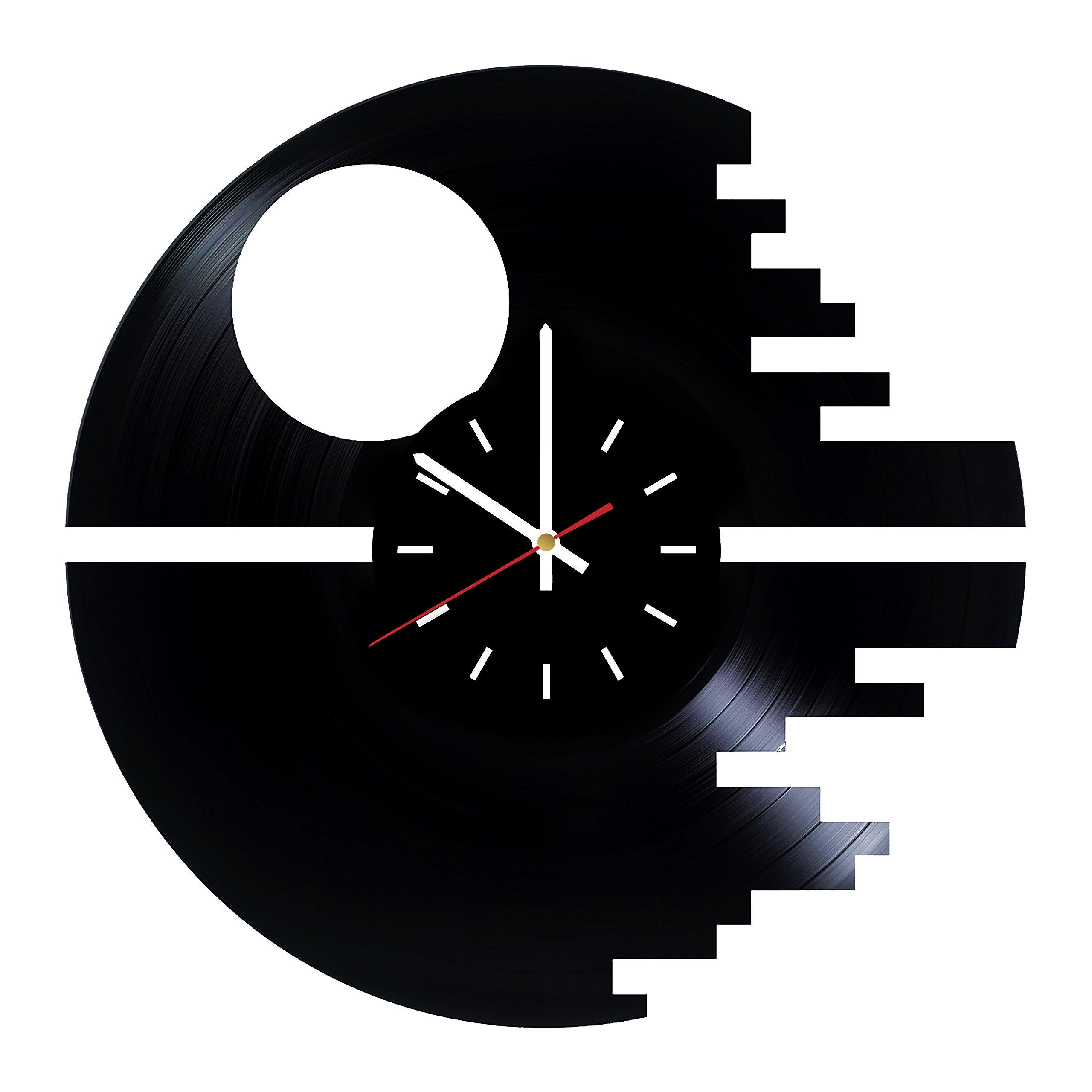 Everyday Arts Death Star Emblem Design Vinyl Record Wall Clock - Get Unique Bedroom or Garage Wall Decor - Gift Ideas for Friends, Brother - Darth Vader Unique Modern Art