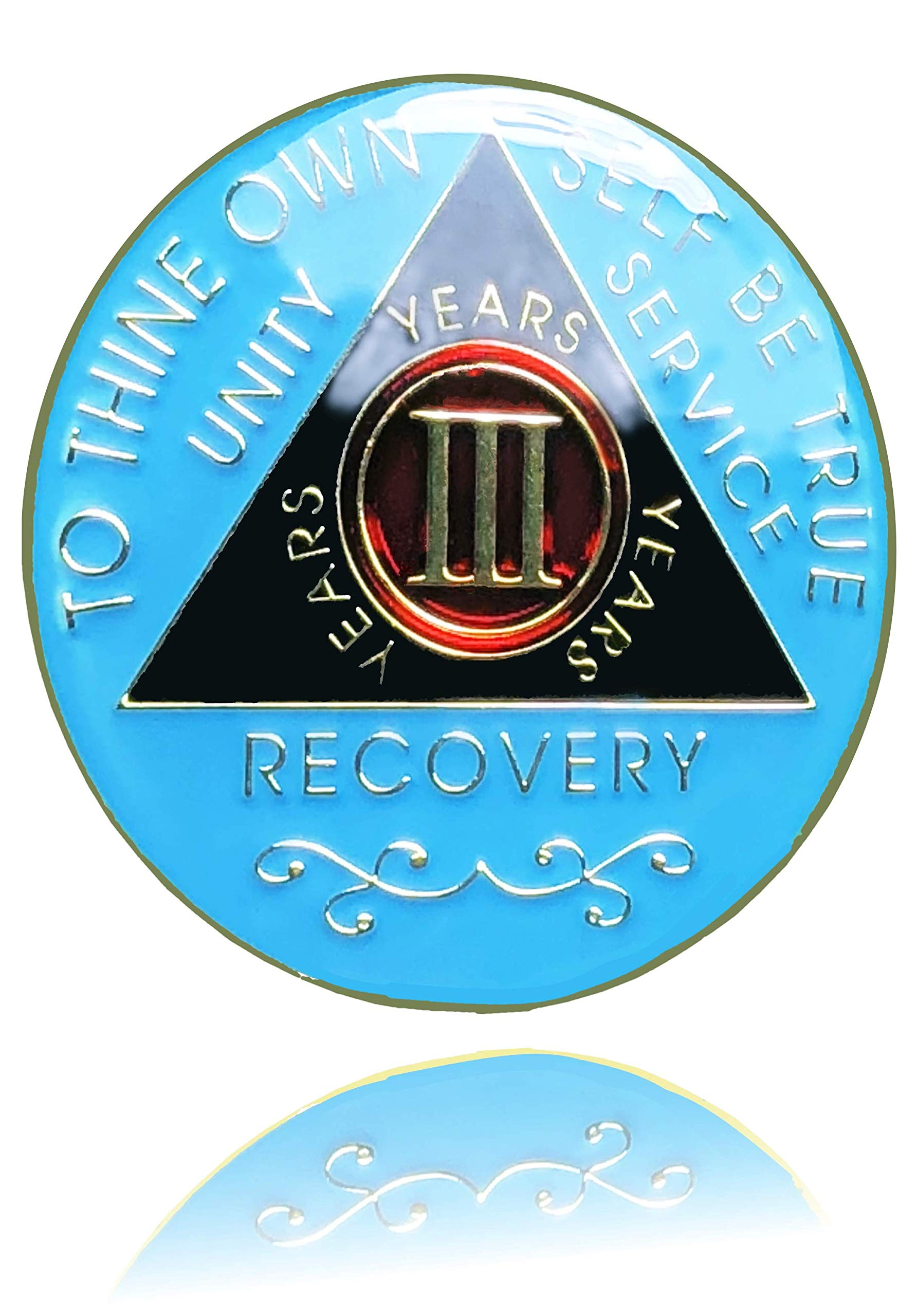 3 Year AA Gold Plated Medallion, Recovery Token, AA Token, Triple Clear Epoxy Sealed