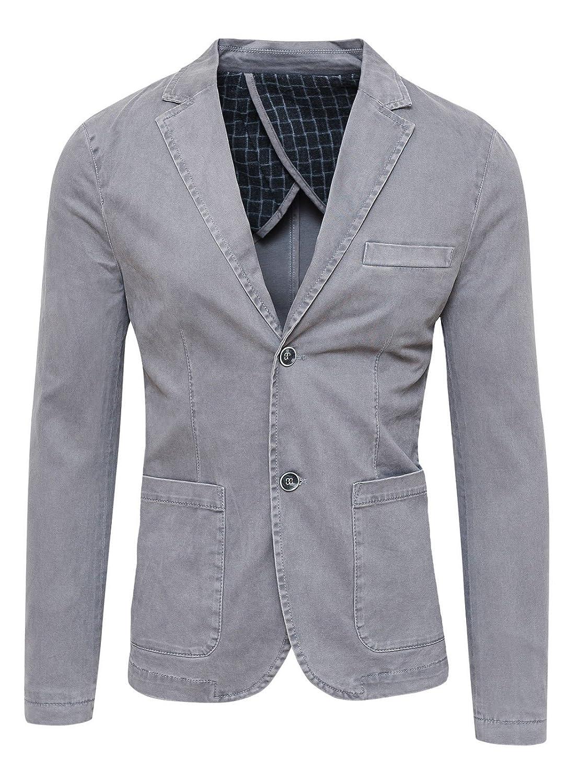 Blazer Giacca Uomo Grigio Slim Fit Elegante Formale Casual
