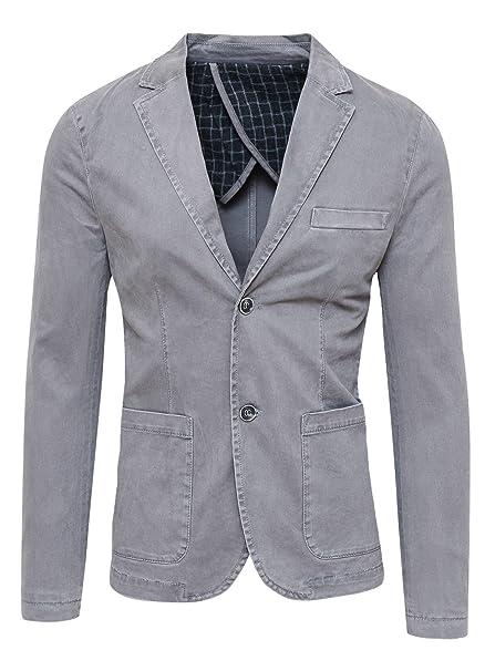 a847073d89f0 Blazer Giacca Uomo Grigio Slim Fit Elegante Formale Casual  Amazon.it   Abbigliamento