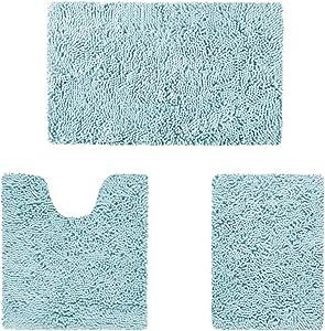 HOMEIDEAS 3 Pieces Bathroom Rugs Set Ultra Soft Non Slip and Absorbent Chenille Bath Rug, Light Blue Bathroom Rugs Plush Bath Mats for Tub, Shower, Bathroom