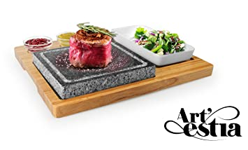 Artestia Sizzling Hot Stone Set With Stainless Steel Tray, Bamboo Platter  And Ceramic Side Dishes