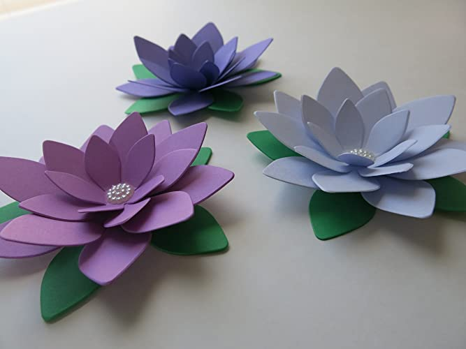 Amazon pretty purple ombre lotus flowers set of 3 4 water pretty purple ombre lotus flowers set of 3 4quot water lily floral centerpiece mightylinksfo