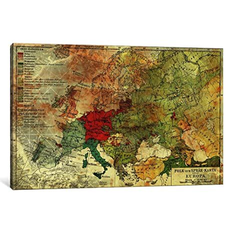 Icanvasart 1 Piece Europa Karta Canvas Print By Ginger 40 By 26