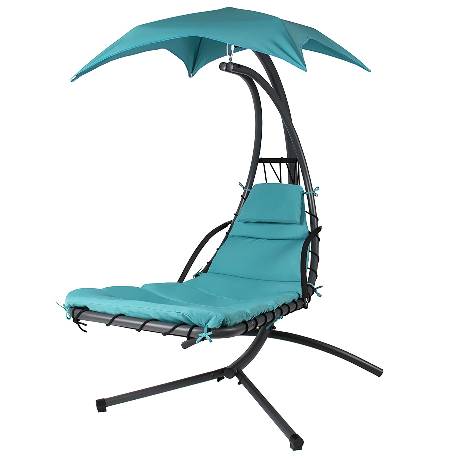Canopy chair dimensions - Amazon Com Best Choice Products Hanging Chaise Lounger Chair Arc Stand Air Porch Swing Hammock Chair Canopy Teal Patio Lawn Garden