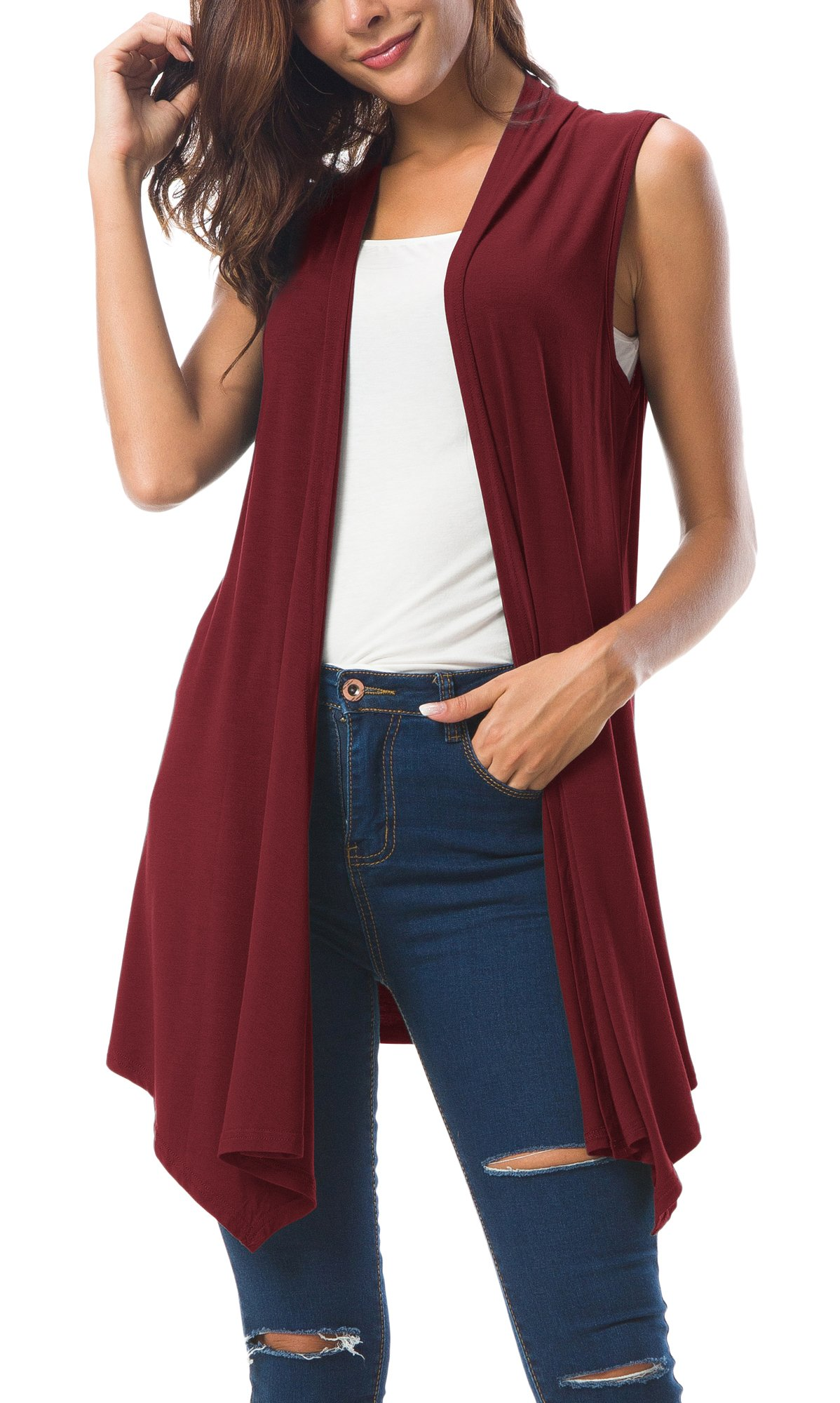 Urban CoCo Women's Sleeveless Draped Open Front Cardigan Vest Asymmetric Hem (M, Wine Red)