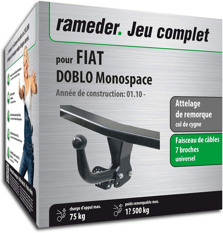 Rameder Attelage dé montable avec Outil pour Fiat DOBLO Monospace + Faisceau 7 Broches (129071-08617-1-FR)