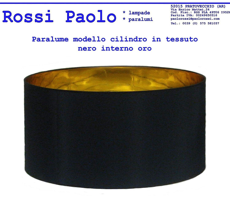 eigene Produktion made in Italy Lampenschirm in schwarzem Stoff mit Gold Interieur Kegelstumpf, cm 30