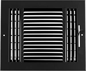 """10""""w X 8""""h 3-Way AIR Supply Grille - Vent Cover & Diffuser - Flat Stamped Face - Black [Outer Dimensions: 11.75""""w X 9.75""""h]"""