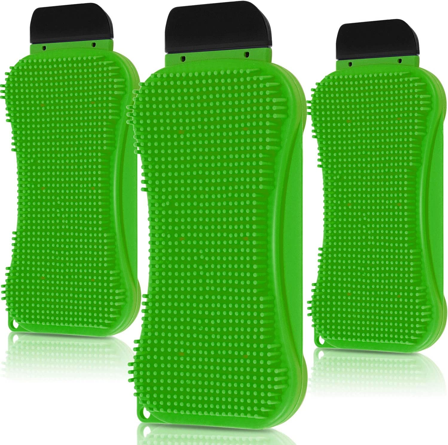 3 Packs 3-in-1 Silicone Sponge Silicone Kitchen Scrubber Multi-Functional Silicone Sponge Scraper Cleaning Brush Dish Brush Wash Cleaning Tool for Kitchen Bathroom (Green)
