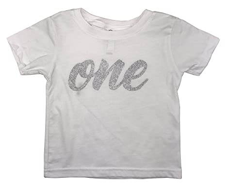0478ccdb9ed2 Baby Girls First Birthday T Shirt Sparkly Silver Glitter One (24M, White):  Amazon.in: Clothing & Accessories