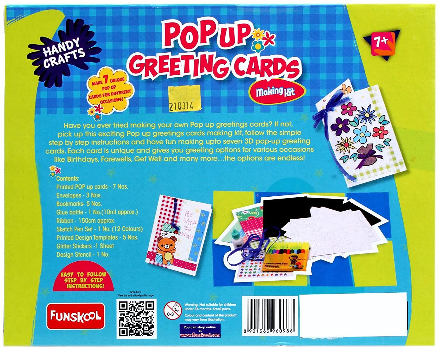 Funskool Handy Crafts Pop Up Greeting Cards Multi Color Amazon