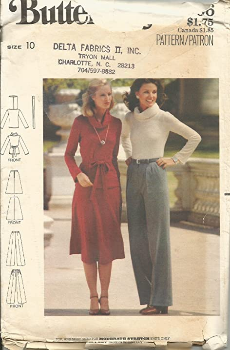 Amazon.com: Butterick 5566 Sewing Pattern Misses Skirt Cowl Neck Top ...