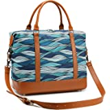 Women Ladies Weekender Bag Overnight Carry-on Tote Duffel in Trolley Handle (Purple Blocks)