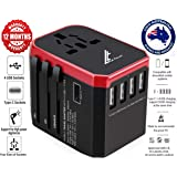 LE TILLAY Universal Travel Adaptor 5.6A (MAX) - High Speed 2.4A - 4 USB and 1 Type-C for AU US EU UK - International Power Adapter - Universal Travel Adapter - Worldwide All in One Plugs Converter Smart Charger AC Power Wall Plug for Worldwide 150+ Countries like Europe Asia Japan Australia Middle East India Israel Germany France Italy India Africa China Russia American British European Adaptor (RED)