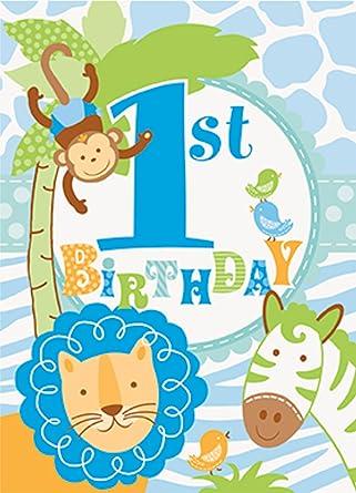 boys 1st birthday party blue safari invitations and envelopes x 8