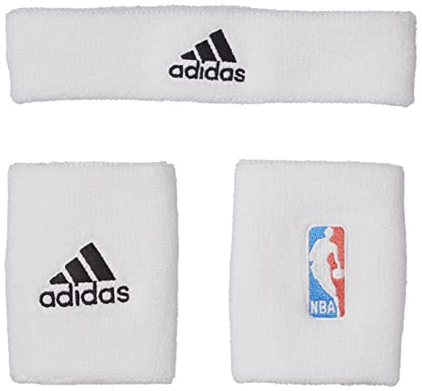 699f4ba53f83 Adidas NBA WB+HB Kit Fascia e Polsini G87965 Wht/Black: Amazon.it ...