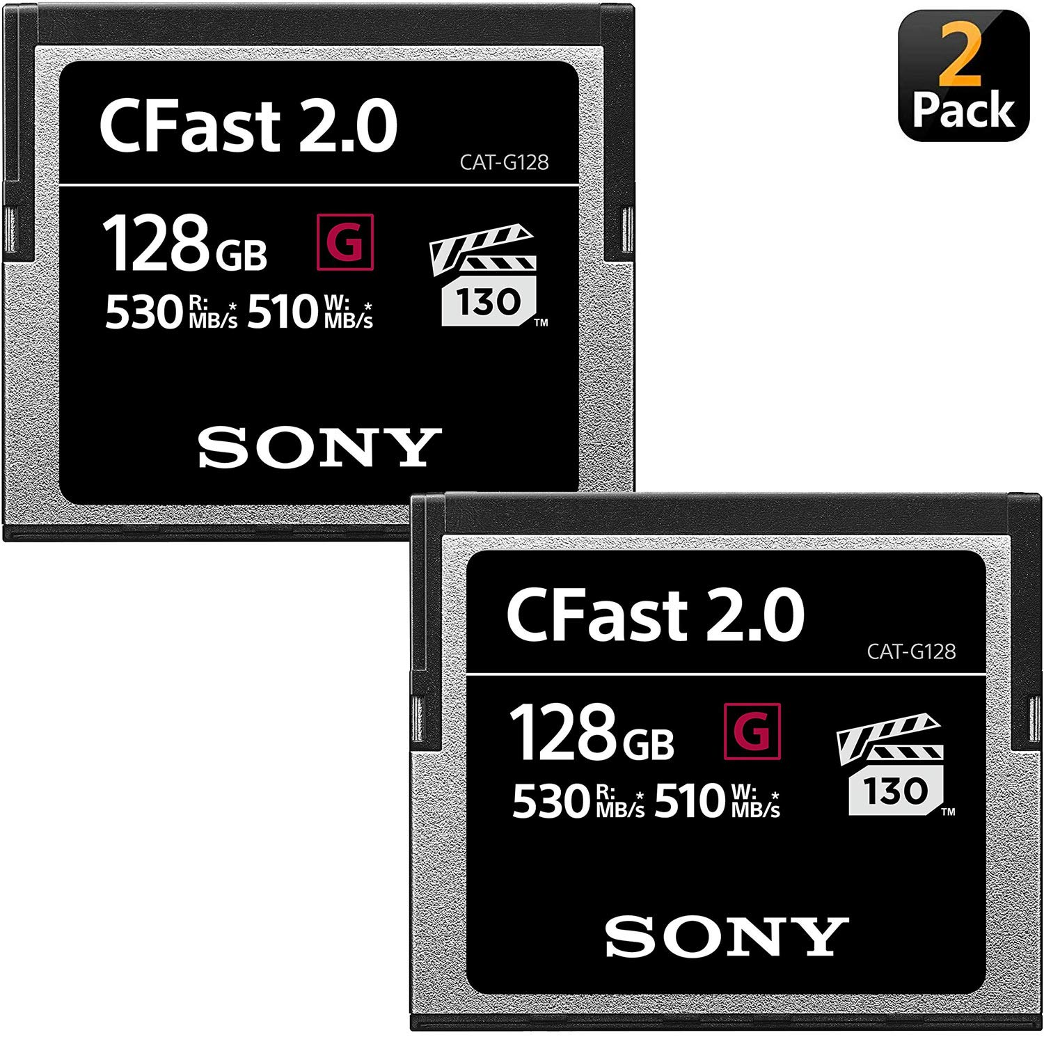 Sony CAT-G128 128GB High Performance CFast G Series 2.0 Memory Card (2-Pack) by Sony