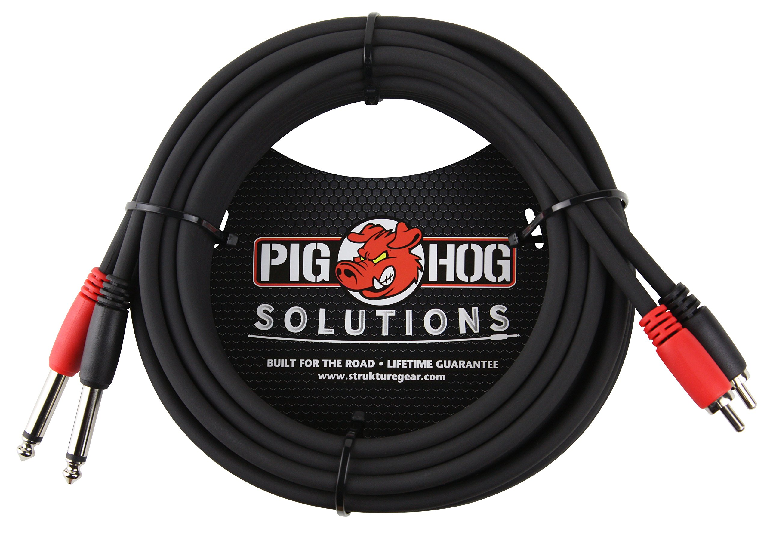 Pig Hog PD-R1415 Dual RCA (Male) to Dual 1/4'' Mono (Male) Cable, 15 Feet by Pig Hog