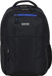Kenneth Cole Reaction Travelier Multi-Pocket Laptop & Tablet Business, School, & Travel Backpack Bag, Black With Blue, One Size