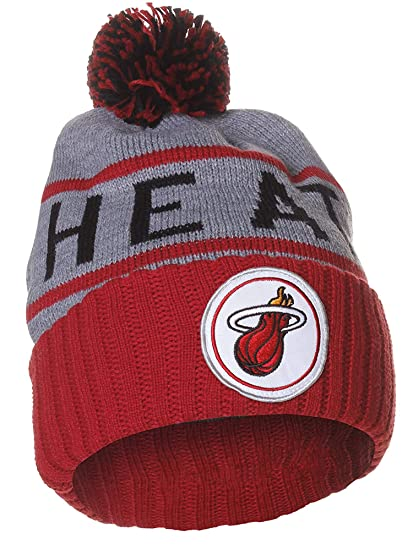 879fe5c6f62 Mitchell   Ness NBA Team Colors Cities High 5 Pom Pom Beanie Cuff Knit Hat  at Amazon Men s Clothing store