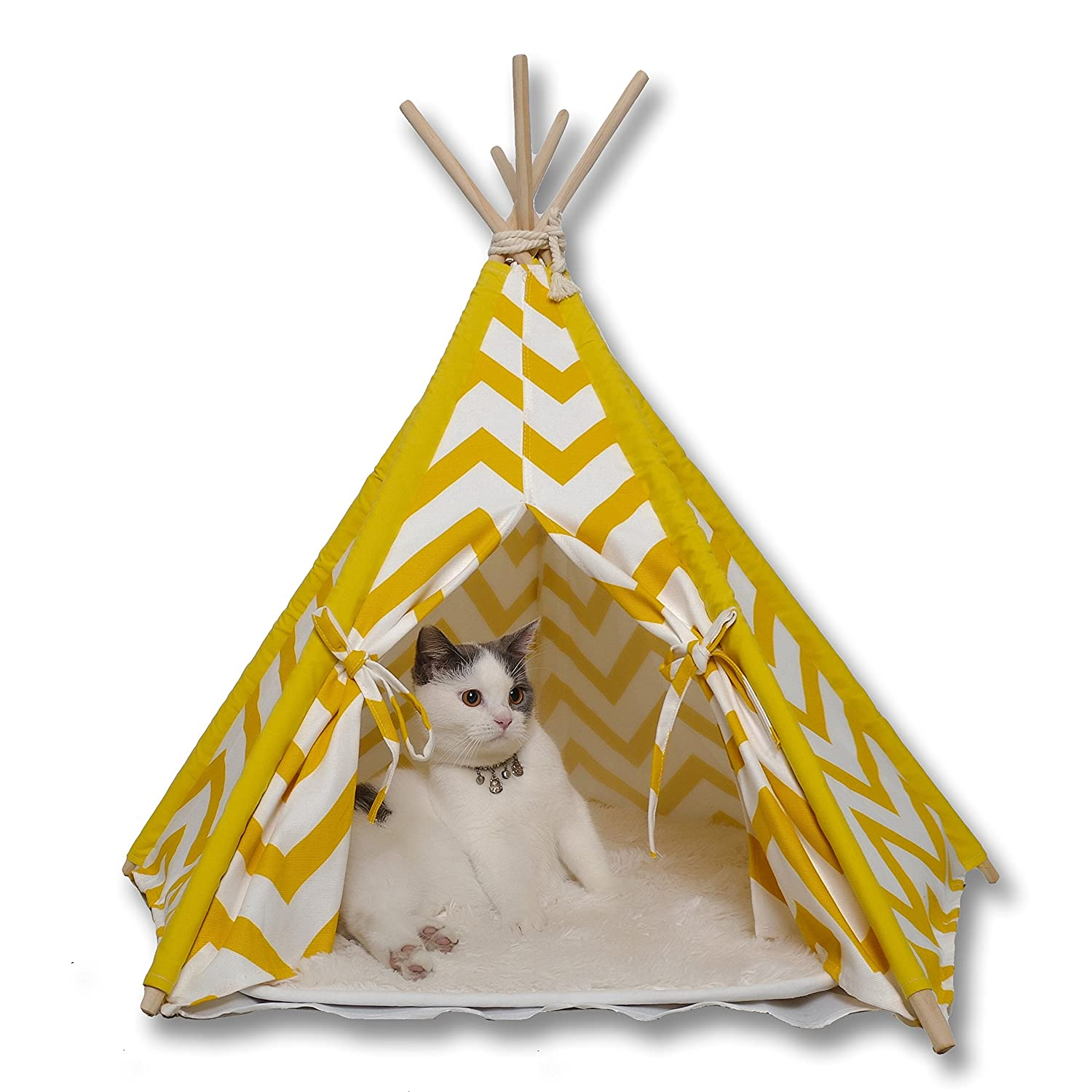 Amazon.com  MY MARKET Yellow Stripe Pet Teepee Indian Tents Wood Canvas Tipi  Pet Supplies  sc 1 st  Amazon.com & Amazon.com : MY MARKET Yellow Stripe Pet Teepee Indian Tents Wood ...