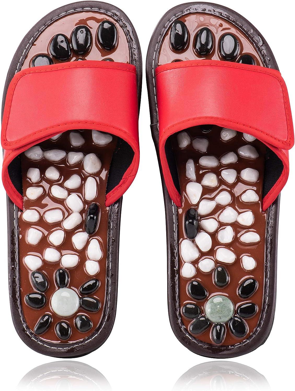 BYRIVER Acupressure Foot Massager Reflexology Massage Slippers Shoes Sandals for Men Women, Relief Plantar Fasciitis Heel Arch Arthritis Neuropathy Pain (Red 25)