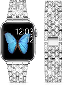 Marge Plus Compatible with Apple Watch Band 38mm 40mm 42mm 44mm, Women Jewelry Wristband Bling Diamond Metal Strap for iWatch Band SE Series 6 5 4 3 2 1 (Silver, 38mm/40mm)