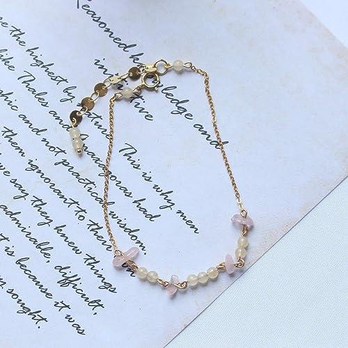 Amazon Com Delicate 14k Gold Filled Muilt Gemstone Bracelet
